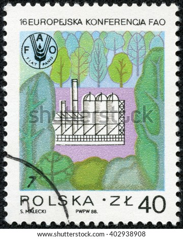 "CHONGQING, CHINA - April 17, 2014:A stamp printed in Poland from the ""16th European Conference of Food and Agriculture Organization, Cracow "" issue shows Factory in forest, circa 1988. - stock photo"