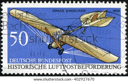 CHONGQING, CHINA - April 17, 2014:a stamp printed in the Germany shows Grade Eindecker, 1909, Historic Aircraft, circa 1991 - stock photo