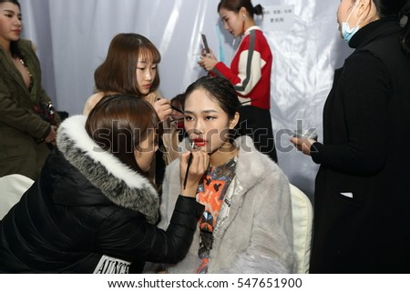 "ChongQing, China - December 30, 2016 ; Red Carpet of ""Fashion Asia Awards 2016, Applying Make Up and Hair Dresser before show"