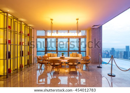 chongqing,china:decoration and furniture in viewing balcony of modern hotel by zhudifeng on July,6,2016