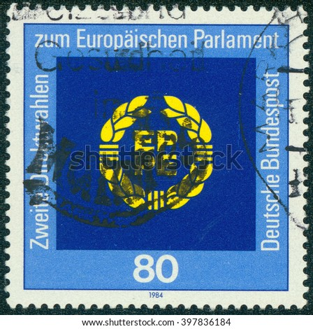 CHONGQING, CHINA - January 8, 2015:A stamp printed in Germany, shows Second Election of Parliament, June, circa 1984 - stock photo