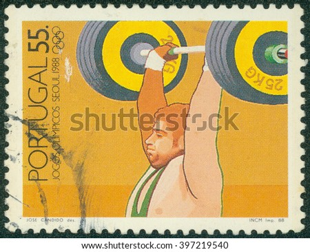CHONGQING, CHINA - January 17, 2015:a stamp printed in the Portugal shows Weight Lifting, 1988 Summer Olympics, Seoul, circa 1988 - stock photo