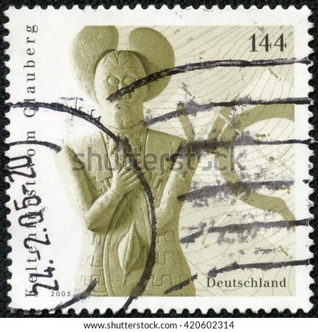 CHONGQING, CHINA - May 8, 2014:a stamp printed in the Germany shows Sculpture of Celtic Prince Found in Glauberg, circa 2005 - stock photo