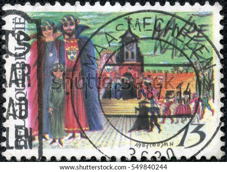 CHONGQING, CHINA - May 11, 2014:stamp printed by Belgium, shows Play of John and Alice, Wavre, circa 1987