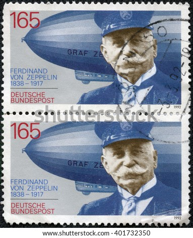 CHONGQING, CHINA - May 17, 2014:stamp printed in Germany shows Ferdinand Graf Von Zeppelin (1838-1917), electrical engineer, German general and Airship Builder, circa 1992 - stock photo