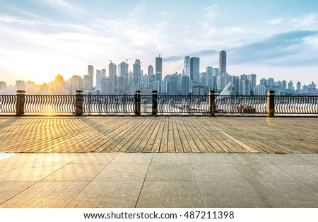 Chongqing city skyline, with wooden floors and guardrails.