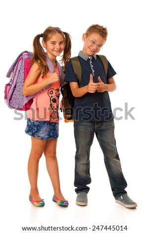 choolboy and schoolgirl with schoolbags isolated over white