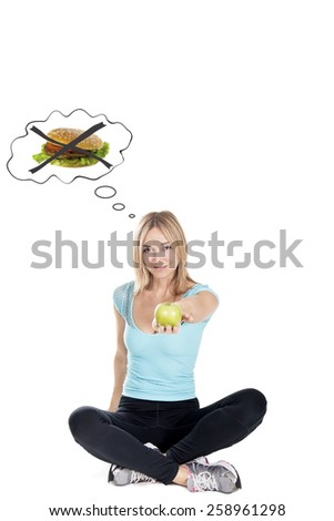 choose apple dont fast food - stock photo