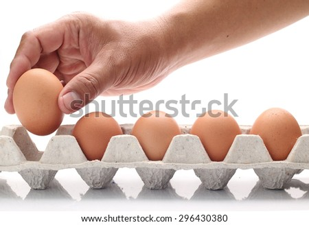 Choose eggs in a panel on a white background.