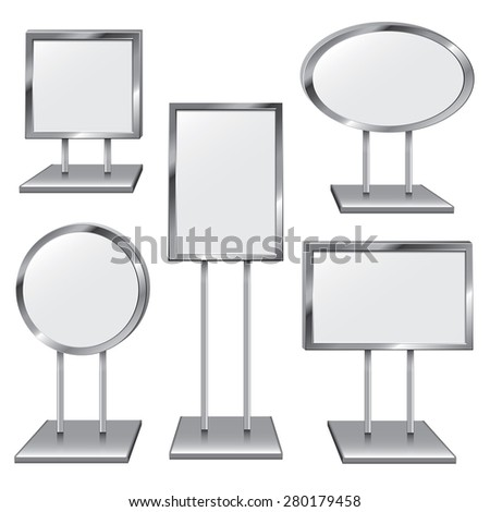 Choose From Five Chrome Sign Holders to Place Your Text - stock photo