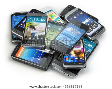 Choose mobile phone. Heap of the different smartphones. 3d - stock photo