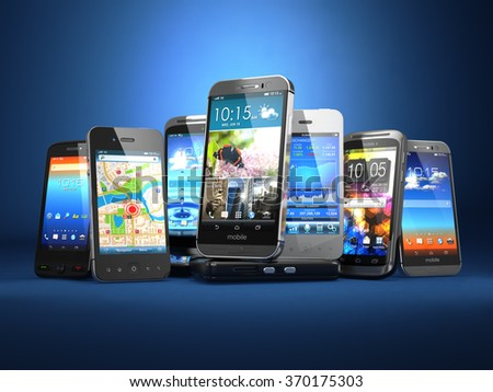 Choose mobile phone. Row of the different smartphones on blue background. 3d