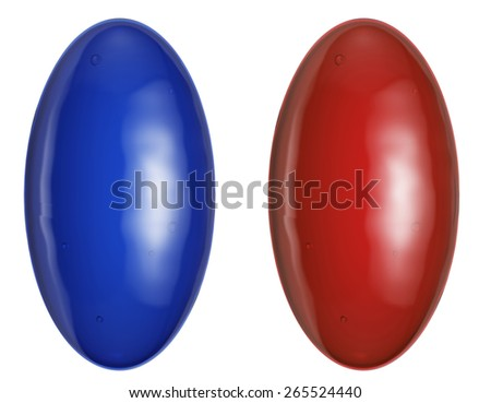 Choose the correct pill isolated on white, 3d illustration - stock photo