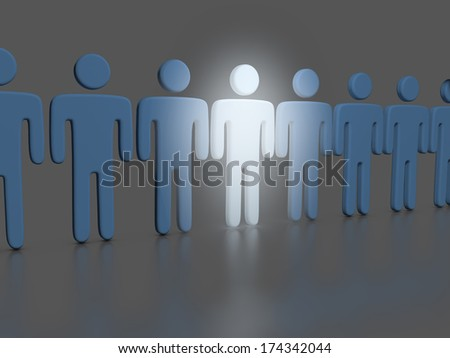 Choose the one bright stand out person who shines in a line of people - stock photo
