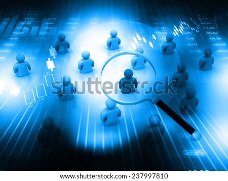 Choose the right person, searching people  concept on blue background  - stock photo