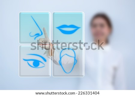 Choose the surgery matching by herself - stock photo