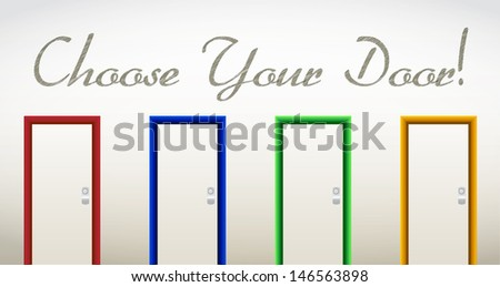 choose your door. future and opportunities concept illustration design - stock photo