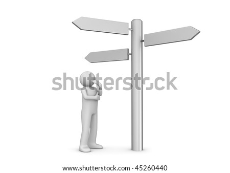 Choose your way (3d isolated characters, copyspaces, business series) - stock photo