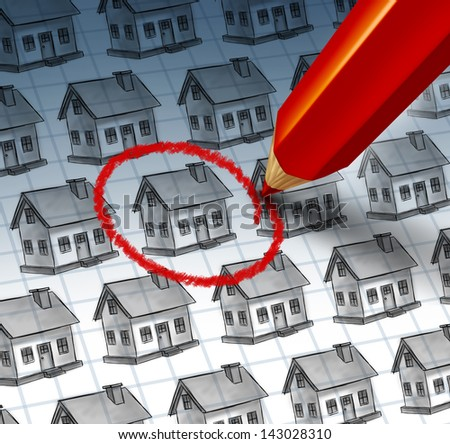 Choosing a home and house search concept with a red pencil crayon highlighting a drawing from a group of houses as a symbol of finding the perfect family residence and achieving real estate success. - stock photo