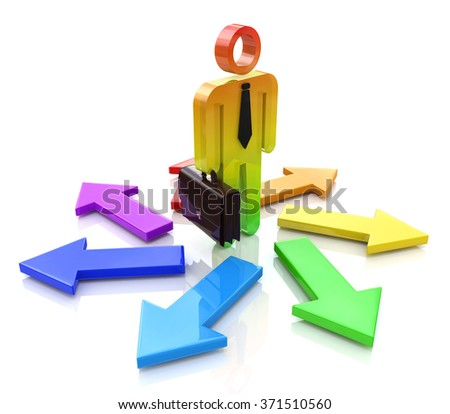 Choosing a Way. 3d people - man, person and arrows. Direction sign in the design of information related to the solution of choice - stock photo