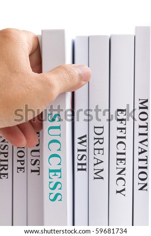 Choosing book of success. - stock photo
