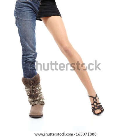 Choosing clothing concept casual or elegant woman model legs isolated on a white background                - stock photo