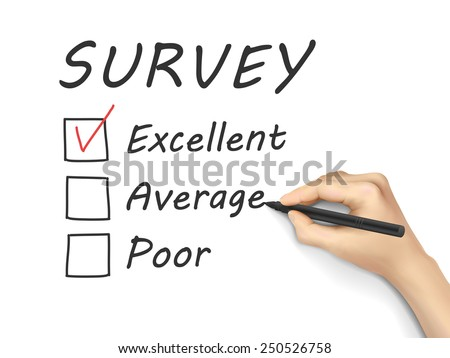 choosing excellent on customer service evaluation form over white background - stock photo