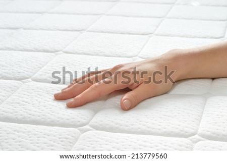 Choosing Mattress Bed Closeup Female Hand Stock Photo