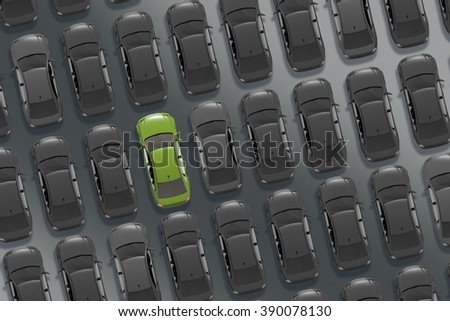Choosing the Car Concept Car Buying 3D Illustration. Dealer Stock From Above with Only One Car Painted in Bright Green Color. The Car. - stock photo