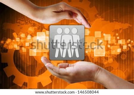 Choosing the right person from a group on hand - stock photo
