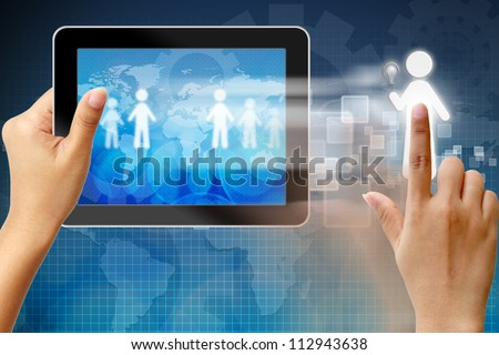Choosing the talent person for hiring in tablet-pc - stock photo