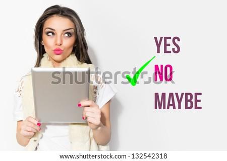 Choosing to click no - stock photo