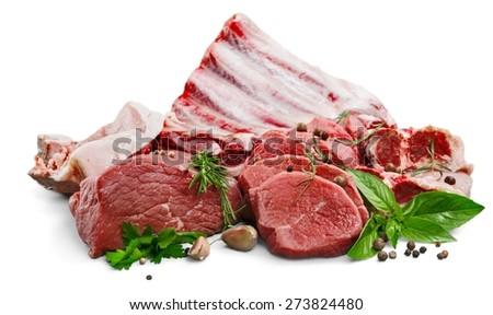 Chop, meat, lamp. - stock photo
