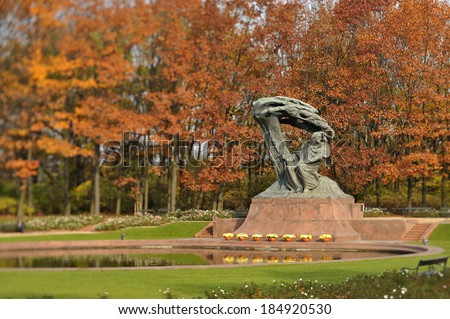 Chopin monument in Royal Baths Park, Warsaw, Poland. Tilt effect with selective focus. - stock photo
