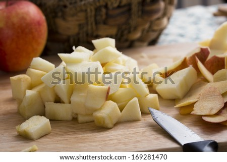 Chopped apple ready to be used in a recipe. - stock photo