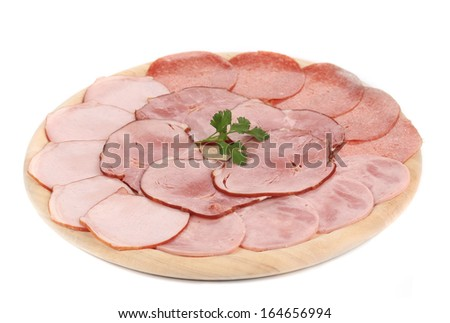 Chopped bacon and meat on plate. Isolated on a white background. - stock photo