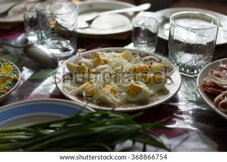 Chopped boiled eggs sprinkled with grated horseradish - traditional Ukrainian dish for Easter
