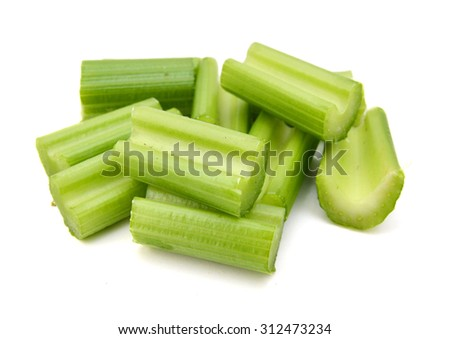Chopped celery isolated on white  - stock photo