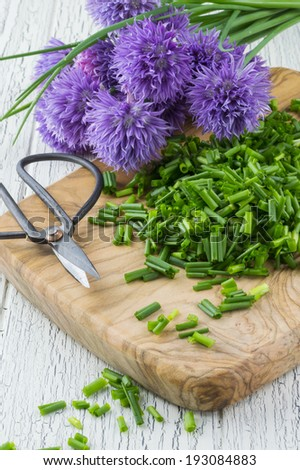 Chopped Chives and Chive Flowers