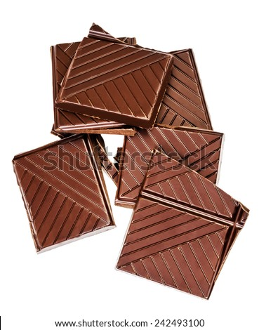 Chopped chocolate bar isolated on white background. Dark chocolate pieces closeup. Chocolate pieces,  - stock photo