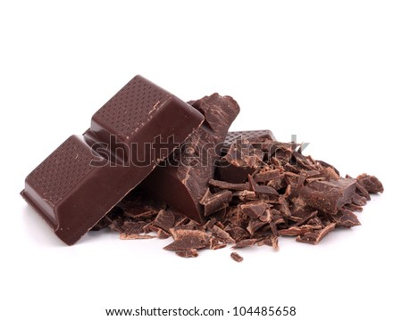 Chopped chocolate  bars  isolated on white background
