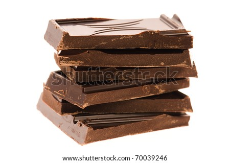 Chopped chocolate isolated on white background