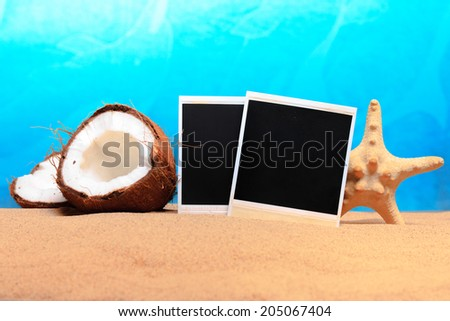 chopped coconut and photoframe on the sand. studio shot