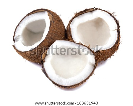Chopped coconut isolated on white