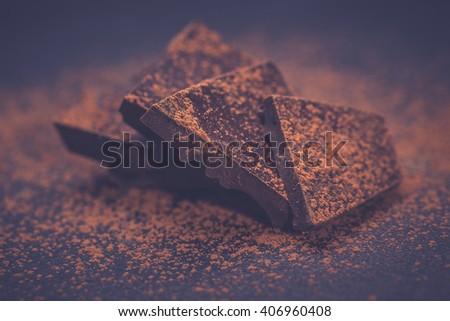Chopped dark chocolate - stock photo
