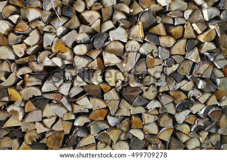 Chopped firewood (birch) in stack, background.