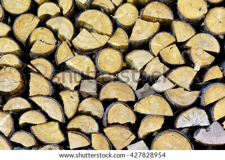 Chopped firewood, stacked and ready for winter. closeup