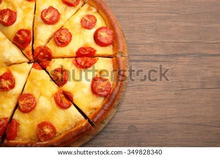 Chopped Margherita pizza, close-up - stock photo
