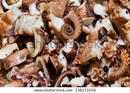 chopped octopus, octopus salad