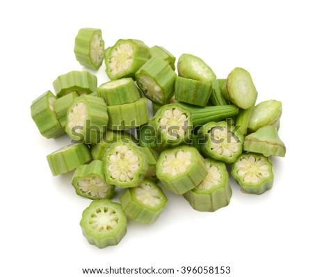 chopped okra Abelmoschus isolated on white background